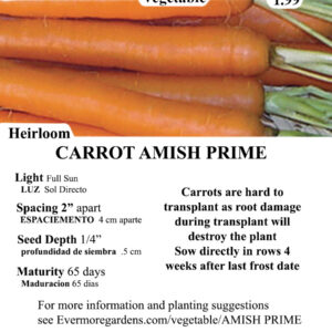 Evermore Gardens Carrot Amish Prime Carrot Amish Prime Heirloom Seeds