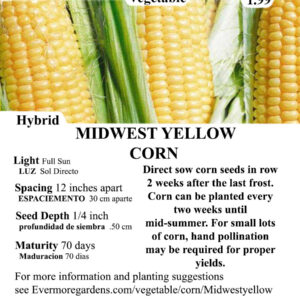 Evermore Gardens Midwest Yellow Corn Hybrid Seeds