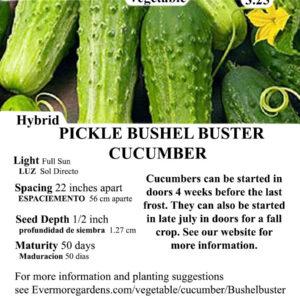 Evermore Gardens Pickle Bushel Buster Cucumber Pickle Bushel Buster Cucumber Hybrid Seeds