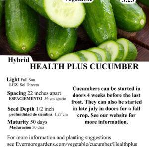 Evermore Gardens Slicer Health Plus Cucumber Slicer Health Plus Cucumber Hybrid Seeds