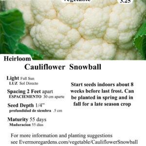 Evermore Gardens Cauliflower Snowball Cauliflower SnowballHeirloom Seeds