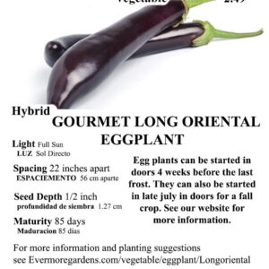 Evermore Gardens Gourmet Long Oriental Eggplant Hybrid Seeds