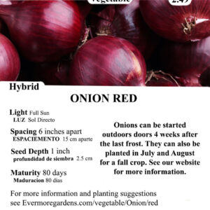 Evermore Gardens Red Onion Red Onion Hybrid Seeds