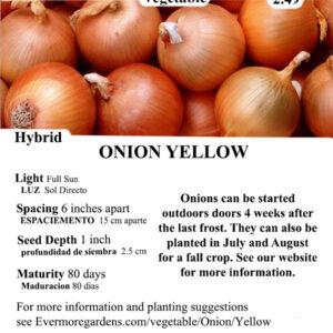 Evermore Gardens Yellow Onion Yellow Onion Hybrid Seeds