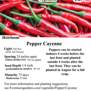 Evermore Gardens Cayenne Pepper Cayenne Pepper Heirloom Seeds