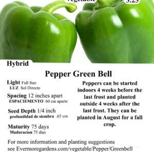 Evermore Gardens Green Bell Pepper Green Bell Pepper Hybrid Seeds