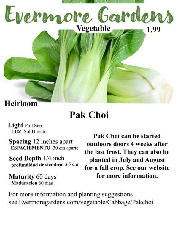 Evermore Gardens Pak Choi Pak Choi Heirloom Seeds