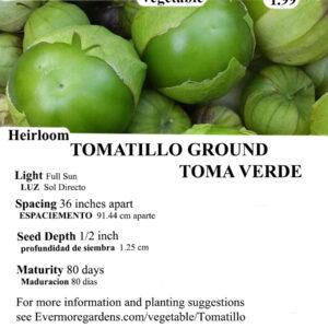 Evermore Gardens Tomatillo Ground Toma Verde Tomatillo Ground Toma Verde Heirloom Seeds
