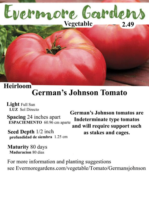 Evermore Gardens Germans Johnson Slicer Tomato Germans Johnson Slicer Tomato Heirloom Seeds