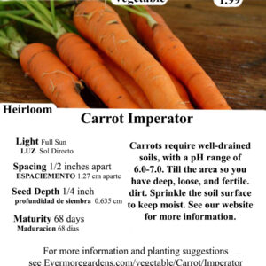 Evermore Gardens Carrot Imperator Heirloom Seeds