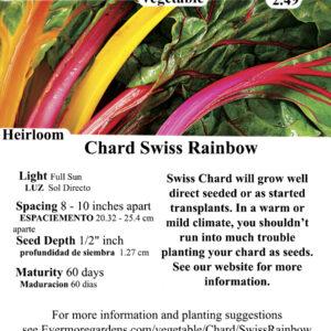 Evermore Gardens Rainbow Swiss Chard Heirloom Seeds
